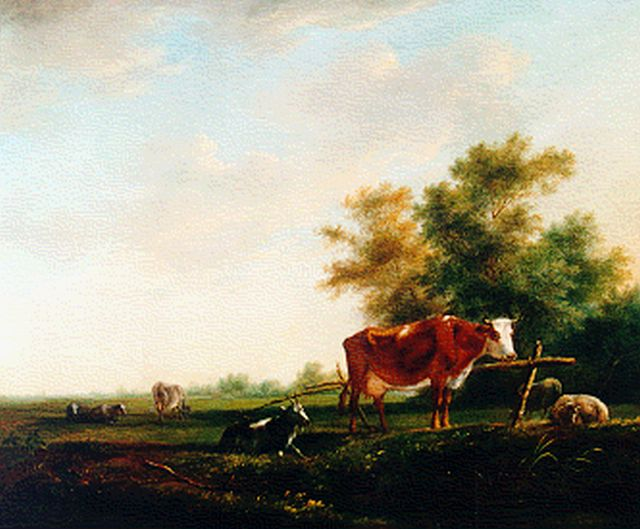 Johannes Janson | Cattle in a landscape, oil on panel, 29.8 x 35.5 cm, signed l.r.