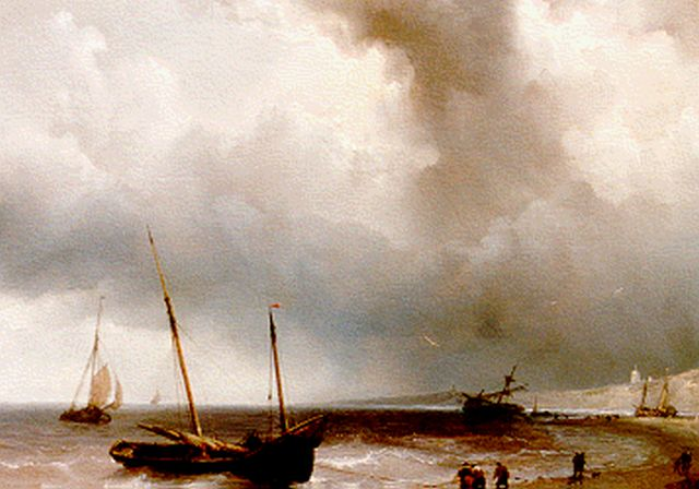 Louis Meijer | Anchored vessels, oil on panel, 27.2 x 35.4 cm, signed l.l. and dated 1850