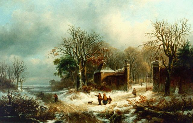 Johannes Petrus van Velzen | Figures on a country lane in winter, oil on panel, 44.5 x 59.5 cm, signed l.l.