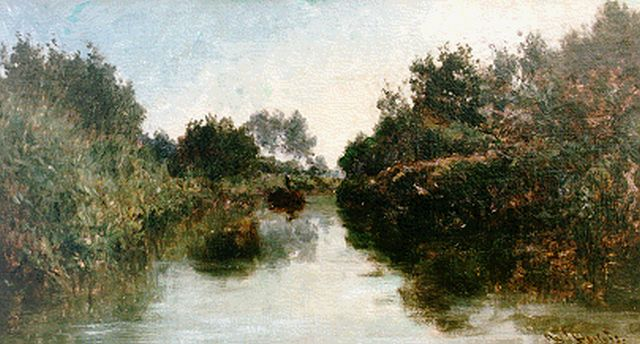 Roelofs W.  | A stream, oil on canvas laid down on painter's board, 23.0 x 40.5 cm, signed l.r.