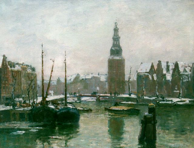 David Schulman | A winter landscape with the Montelbaanstoren, Amsterdam, oil on canvas, 50.5 x 60.4 cm, signed l.l.
