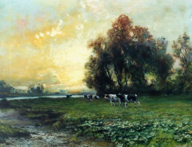 Piet Schipperus | Cows in a river landscape, oil on canvas, 60.0 x 80.0 cm, signed l.r. and dated 1925
