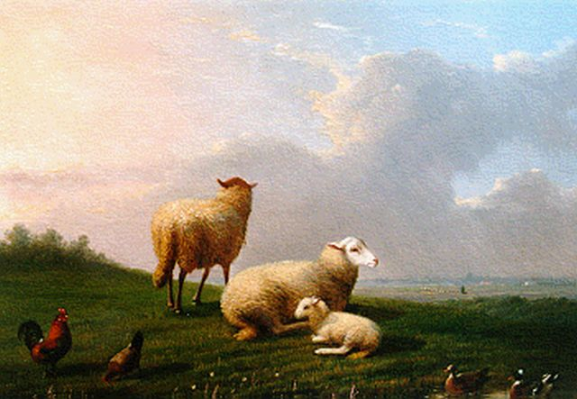 Frans van Severdonck | Sheep, a lamb, chickens and ducks in a landscape, oil on canvas, 17.6 x 24.0 cm, signed l.l. and dated 1864