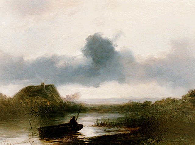 Johannes Franciscus Hoppenbrouwers | A fisherman in a polder landscape, oil on panel, 19.1 x 26.0 cm, signed l.l.