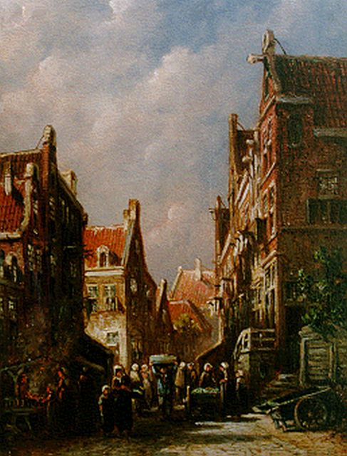 Petrus Gerardus Vertin | Townsfolk in a busy street, oil on panel, 19.4 x 14.9 cm, signed l.l.