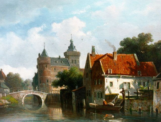 Adrianus Eversen | A townscape with a castle in the distance, oil on panel, 19.2 x 25.6 cm, signed l.r. with monogram
