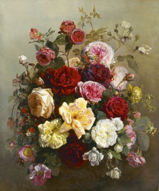 Anna Peters | A still life of roses, oil on canvas, 58.0 x 48.3 cm, signed l.r. and dated 1863