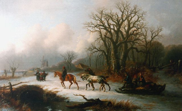Alexis de Leeuw | A winter landscape with figures gathering wood, oil on canvas, 78.5 x 126.7 cm, signed l.r. and dated 1865
