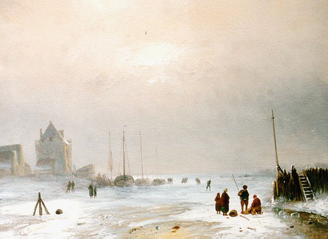 Charles Leickert | Activities on the ice, oil on panel, 23.7 x 31.8 cm, signed l.l.