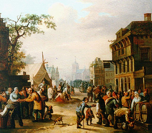 Schimmelpenninck Gzn G.  | Daily activites in a Dutch town, oil on canvas 47.0 x 53.0 cm, signed l.r.