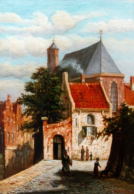 Johannes Jacobus Mittertreiner | A sunlit town, oil on panel, 19.2 x 14.2 cm, signed l.r.