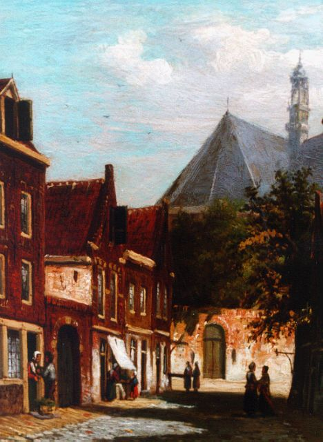 Johannes Jacobus Mittertreiner | A sunlit town view, oil on panel, 19.5 x 14.2 cm, signed l.r.