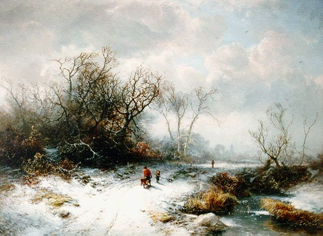 Pieter Kluyver | Travellers in a winter landscape, oil on panel, 40.0 x 55.4 cm, signed l.l.