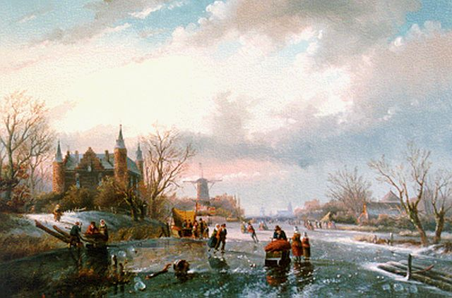 Jan Jacob Spohler | Skaters and a 'koek en zopie' on the ice, oil on canvas, 55.0 x 83.3 cm, signed l.r.