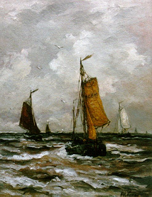 Hendrik Willem Mesdag | 'Bomschuiten' in full sail, oil on canvas, 50.7 x 39.8 cm, signed l.r. indistinctly