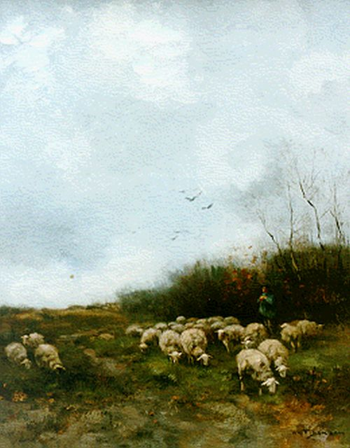 Willem George Frederik Jansen | A shepherd with his flock, oil on canvas, 55.0 x 45.0 cm, signed l.r.