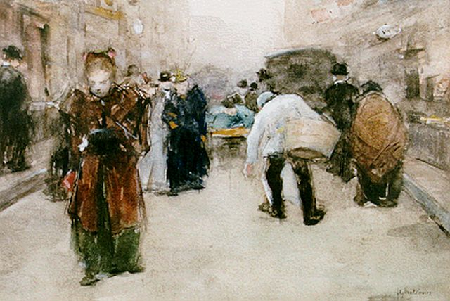 Floris Arntzenius | A view of the Hoogstraat, The Hague, watercolour on paper, 17.6 x 25.0 cm, signed l.r. and dated '95