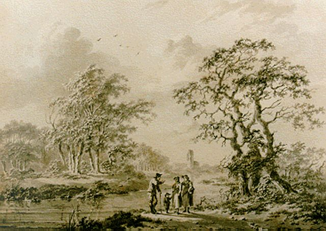 Barend Cornelis Koekkoek | Extensive wooded landscape with figures on a path, sepia on paper, 12.5 x 17.8 cm, signed l.r. and dated 1838
