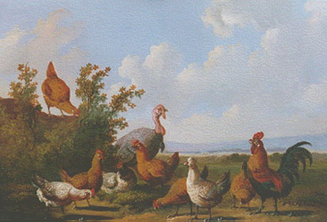 Albertus Verhoesen | Poultry in a landscape, oil on panel, 14.4 x 19.1 cm, signed l.l. and dated 1880