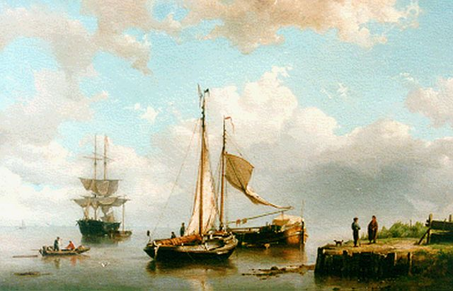 Cornelis Christiaan Dommelshuizen | Anchored shipping, oil on canvas, 41.5 x 61.5 cm, signed l.r. and dated 1859