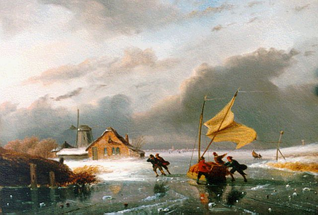 Nicolaas Johannes Roosenboom | Figures on the ice in winter, oil on panel, 31.0 x 45.0 cm, signed l.r.