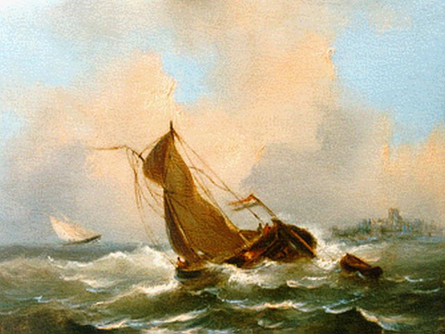 Govert van Emmerik | Shipping on choppy waters, oil on panel, 13.1 x 17.3 cm, signed l.l. with initials