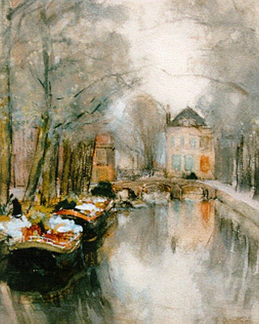 Floris Arntzenius | Barges with flowers moored at Smitswater, The Hague, watercolour on paper, 22.0 x 17.0 cm, signed l.r.