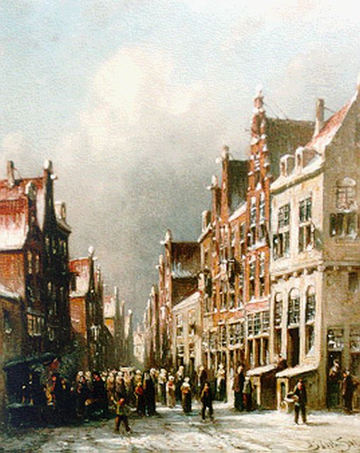 Petrus Gerardus Vertin | Townsfolk in a busy street in winter, oil on panel, 24.0 x 19.6 cm, signed l.r. and dated '85