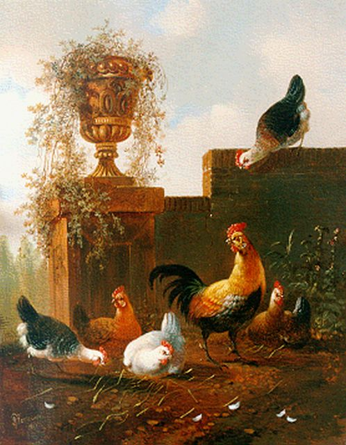 Albertus Verhoesen | Poultry in a classical landscape, oil on panel, 28.7 x 23.0 cm, signed l.r. and dated 1857