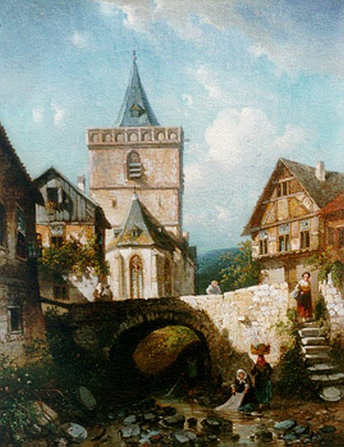 Charles Leickert | A view of Assmannshausen, Germany, oil on canvas, 45.0 x 35.4 cm, signed l.l. and painted circa 1860