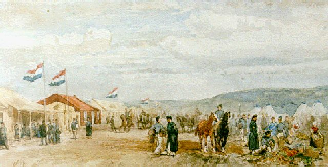 Charles Rochussen | Artillery camp in the dunes, watercolour on paper, 17.5 x 34.5 cm, signed l.l. with initials and dated '62