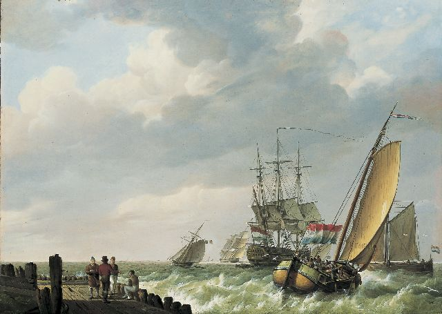 Johannes Hermanus Koekkoek | Shipping in a stiff breeze, oil on panel, 44.8 x 62.2 cm, signed l.l. and dated 1810