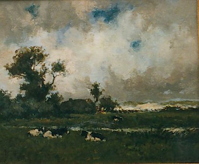 Jan Hendrik Weissenbruch | Cows in a landscape, oil on panel, 17.3 x 22.0 cm, signed l.r.