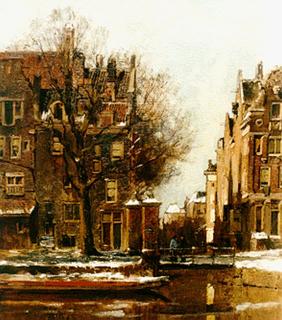 Karel Klinkenberg | A canal in winter, Amsterdam, oil on canvas, 47.0 x 39.0 cm, signed l.r.
