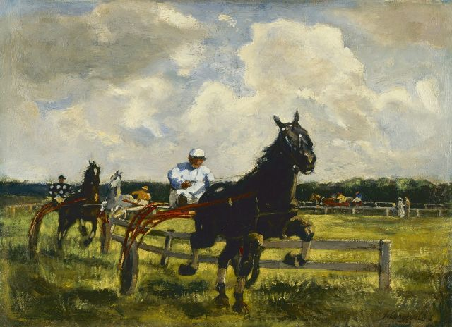 Frans Langeveld | Harness racing, oil on canvas, 36.9 x 51.2 cm, signed l.r.