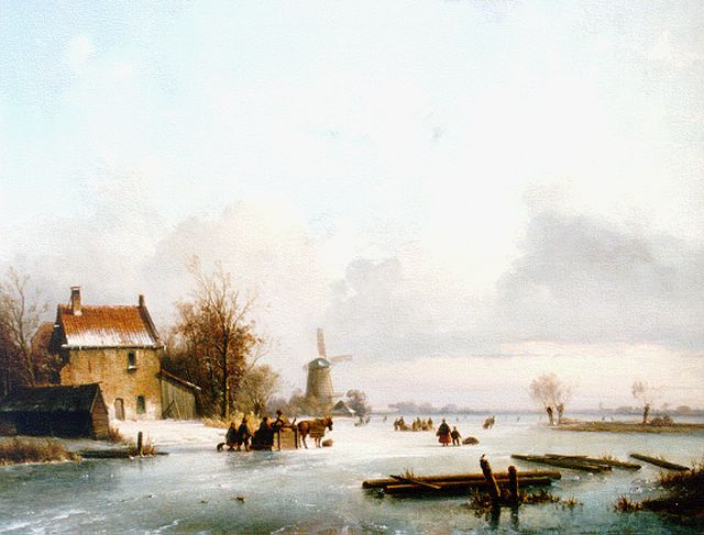 Lodewijk Johannes Kleijn | An extensive winter landscape with skaters on the ice, oil on panel, 44.2 x 55.2 cm, signed l.r.