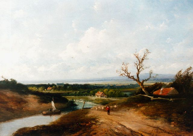 Antonius Josephus Madlener | An extensive river landscape with a shepherd and flock, oil on panel, 21.7 x 29.7 cm, signed l.r. and dated '54