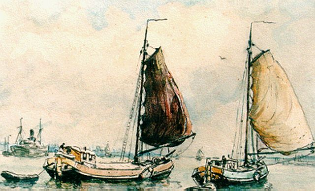 Evert Moll | Flatboats in a calm, mixed media on paper, 14.5 x 20.0 cm, signed l.l.