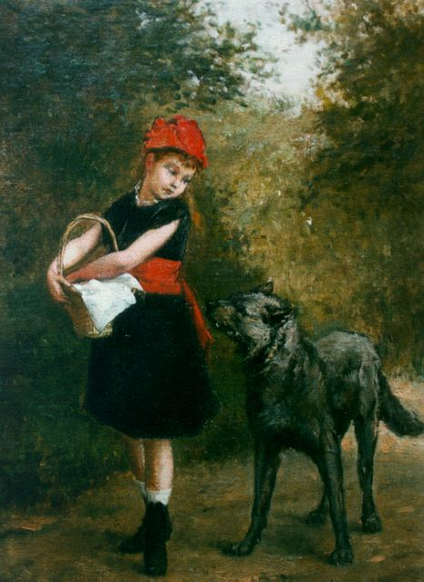Albert Roosenboom | Little Red Riding Hood, oil on canvas, 35.2 x 25.0 cm, signed l.r. and dated 1880 on the reverse