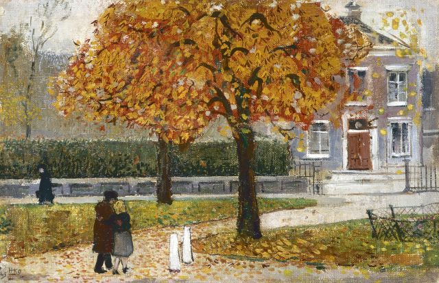 Harm Kamerlingh Onnes | Fall day, Delft, oil on canvas laid down on panel, 21.7 x 33.1 cm, signed l.l. with monogram and dated '45