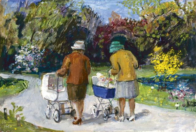 Harm Kamerlingh Onnes | Strolling in a park, 22.0 x 32.3 cm, signed l.l. with monogram and dated '65