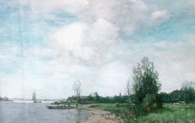 Ferdinand Bernhard Höppe | A view of the river Ijssel, watercolour on paper, 39.1 x 56.2 cm, signed l.r.