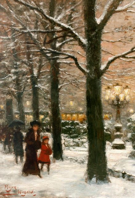 Rolf Dieter Meyer-Wiegand | Corneliusplatz in winter, Düsseldorf, oil on panel, 18.0 x 13.0 cm, signed l.l.