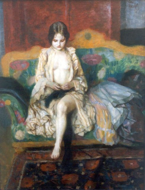 Otto J. Herschel | A young lady on a sofa, oil on canvas, 52.9 x 40.8 cm, signed u.r.