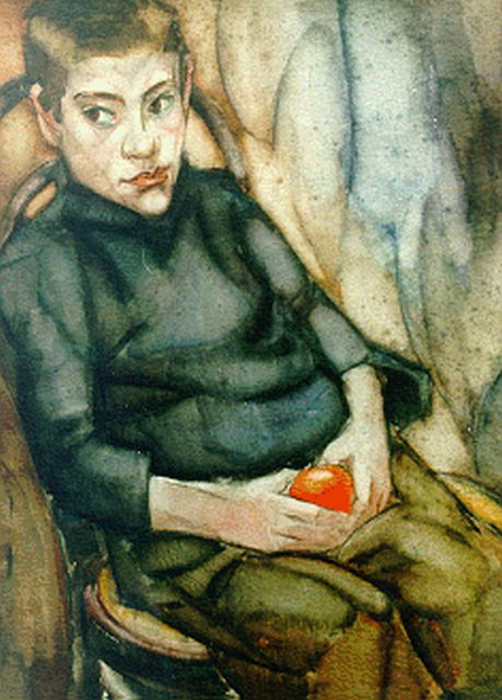 Harmen Meurs | A portrait of a boy, watercolour on paper, 73.0 x 54.0 cm, signed l.l. and dated 1921