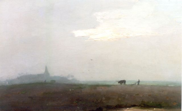 Aris Knikker | Ploughing the fields, oil on canvas, 40.2 x 60.5 cm, signed l.r.