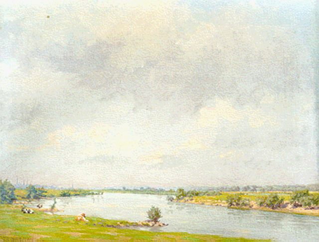 Co Breman | A view of the river IJssel, oil on canvas, 49.5 x 56.3 cm, signed l.l. and dated 1928