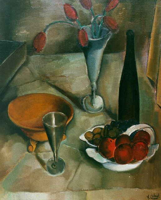 Arnout Colnot | A still life with bottle and fruit, oil on canvas, 76.5 x 64.4 cm, signed l.r.