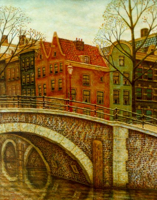 Sal Meijer | A canal, Amsterdam, oil on canvas, 39.0 x 31.7 cm, signed l.r.