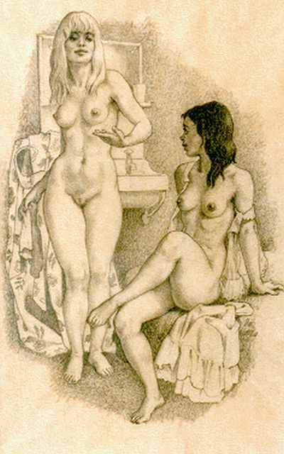Huib de Ru | A seated and standing nude, pencil on paper, 24.0 x 16.5 cm, signed l.r.